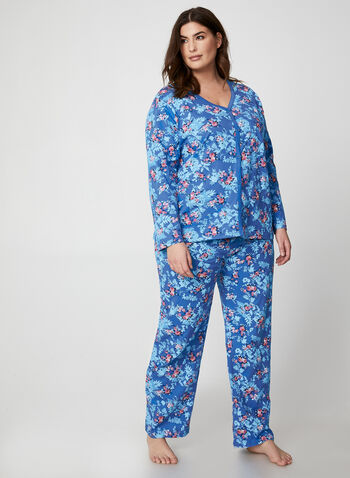 Hamilton - Floral Print Pyjama Set, Blue,  pyjama, pants, top, floral print, cotton, fall winter 2019
