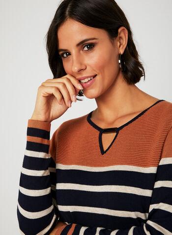 Stripe Knit Keyhole Neck Sweater, Blue, hi-res