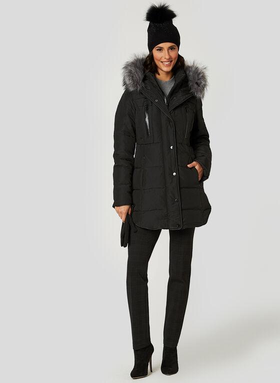 Manteau en duvet avec fausse fourrure, Noir, hi-res