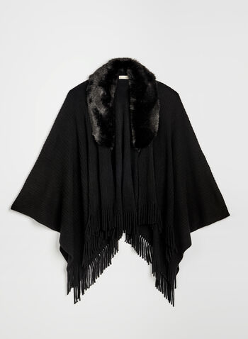 Faux Fur Collar Ruana, Black, hi-res