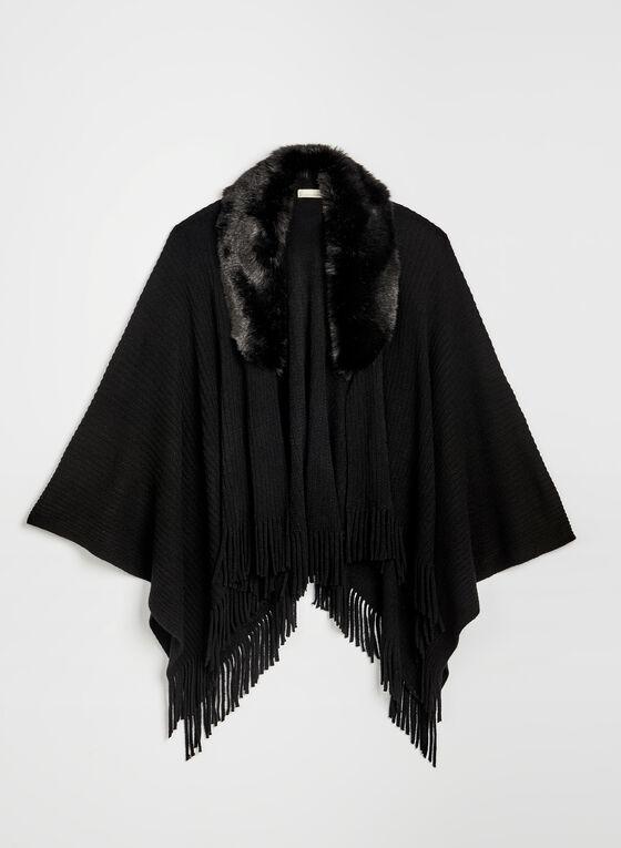 Faux Fur Collar Ruana, Black, hi-res