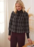 Plaid Knit Zip Front Jacket, Black
