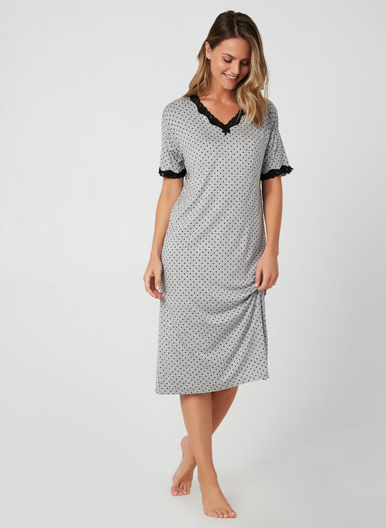 Hamilton - Polka-Dot Print Nightgown, Grey