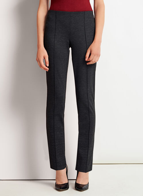 Checkered Slim Leg Ponte Pants, Black, hi-res