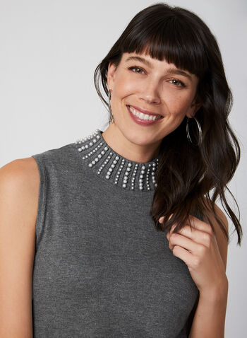 Mock Neck Sleeveless Top, Grey, hi-res,  pearl detail, fall 2019, winter 2019, knit, stretchy, fall 2019, winter 2019
