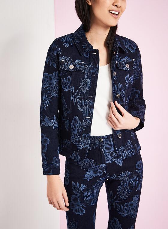Veste à fleurs en denim, Bleu, hi-res
