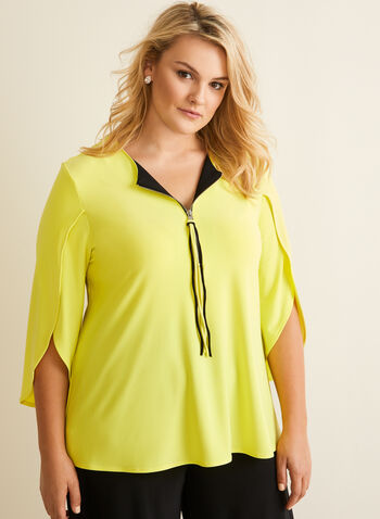 Joseph Ribkoff - Zipper Detail Top, Yellow,  canada, top, zipper, v-neck, 3/4 sleeves, comfortable, spring 2020, summer 2020