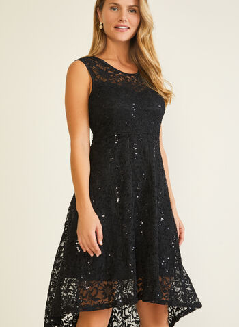 Sequin Lace Dress, Black,  evening dress, lace, sequin, illusion, sleeveless, fall winter 2020