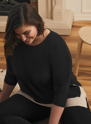 Joseph Ribkoff - 3/4 Sleeve Contrast Top, Black,  top, 3/4 sleeves, contrast, round neck, ribkoff, lyman, spring summer 2021