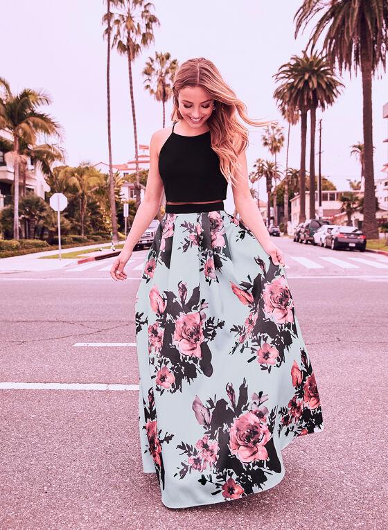 Floral Print Popover Dress, Black
