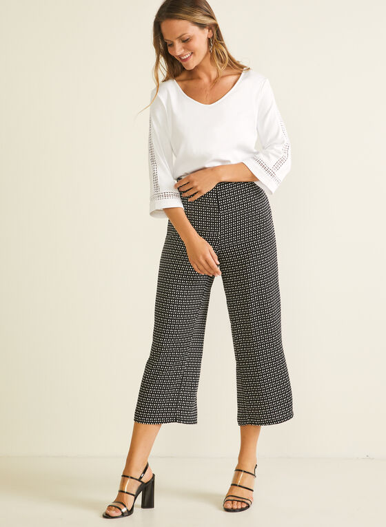 Abstract Dot Print Gaucho Pants, Black