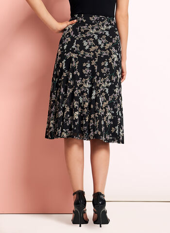 Floral Print Flared Midi Skirt, , hi-res