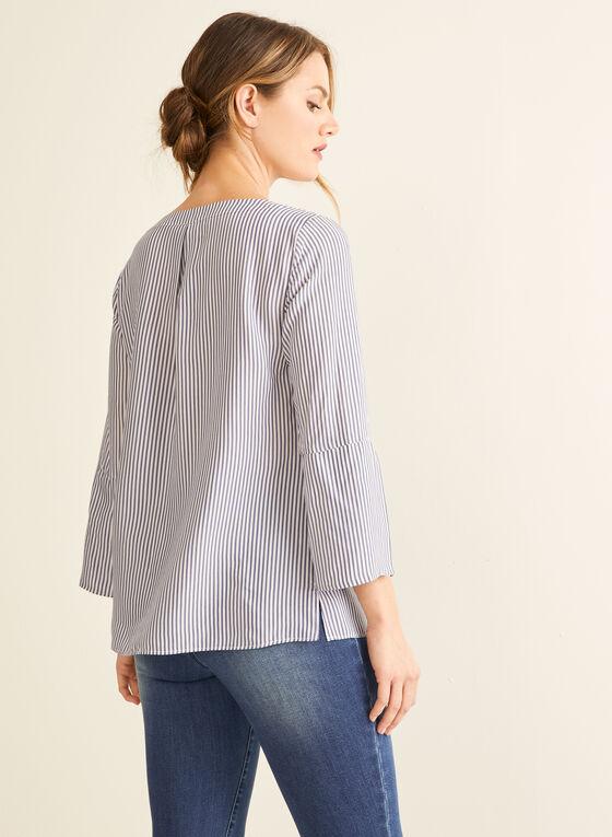 Striped Print Tunisian Collar Blouse, White