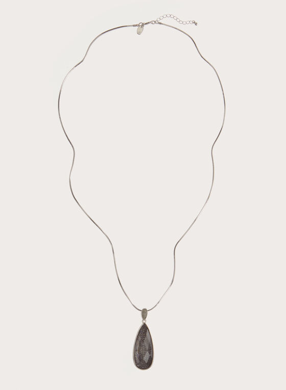 Faceted Teardrop Pendant Necklace, Grey, hi-res