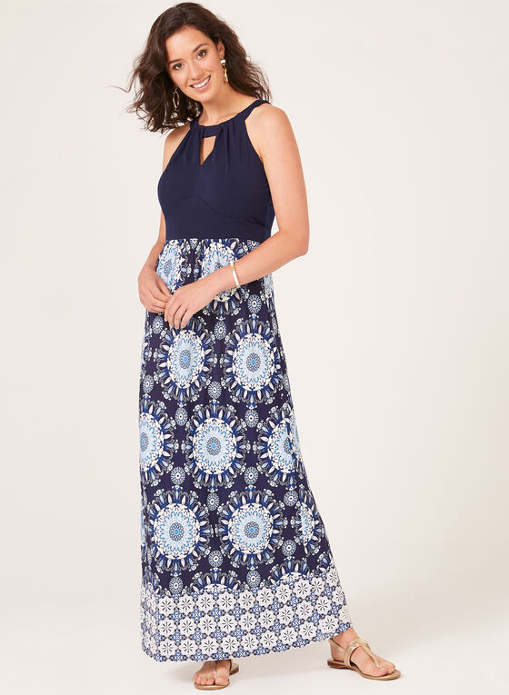 Floral Print Cleo Neck Maxi Dress, Blue, hi-res