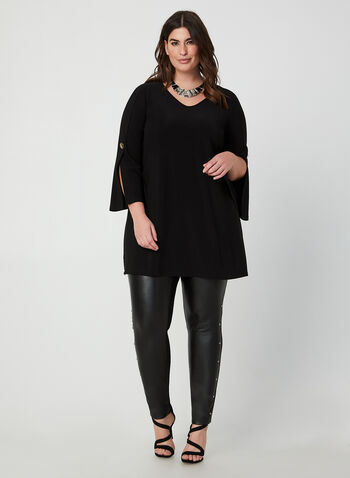 Tunic With Slit Sleeves, Black, hi-res,  canada, long sleeves, slit sleeves, tunic, top, jersey top, jersey, comfortable, fall 2019, winter 2019