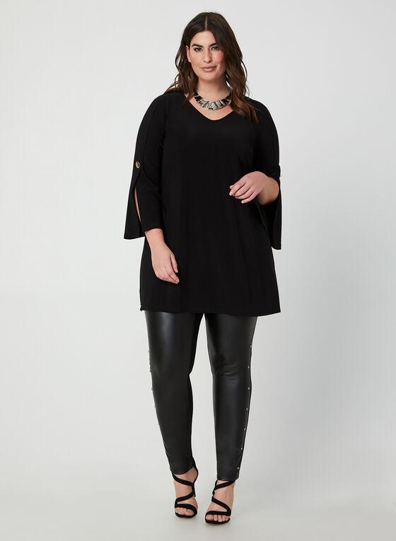 Tunique à manches longues fendues, Noir, hi-res
