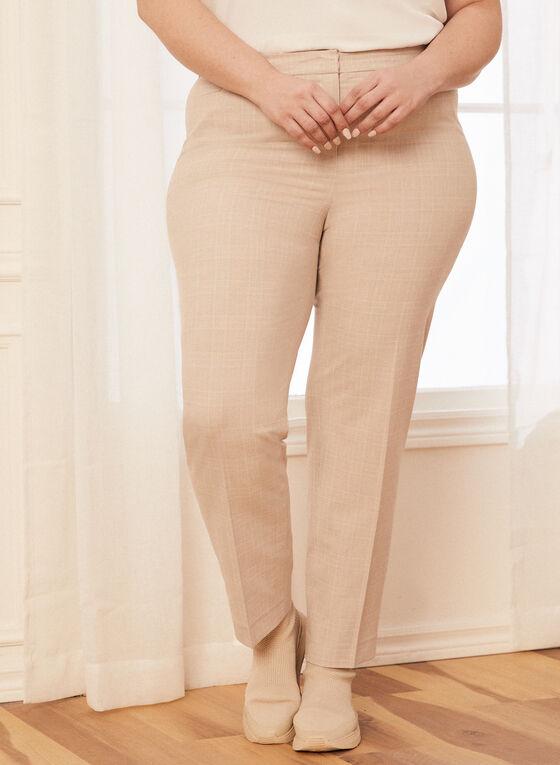 Pantalon coupe cité motif tartan, Blanc