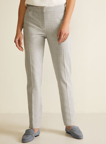 Modern Fit Tartan Print Pants, Grey,  pants, modern fit, straight leg, bi-stretch, tartan, pleats