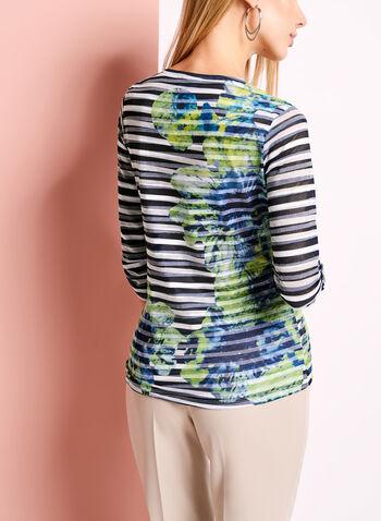 3/4 Sleeve Floral & Stripe Print Top, , hi-res