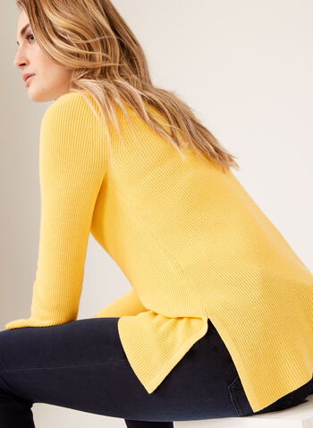 ¾ Bell Sleeve Knit Sweater, Yellow, hi-res