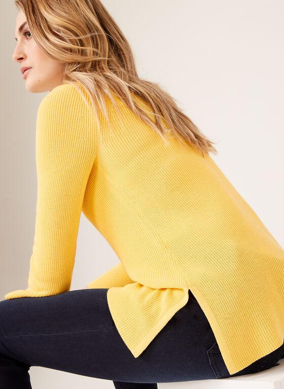 Pull en tricot avec détail lacet et manches cloche ¾, Jaune, hi-res