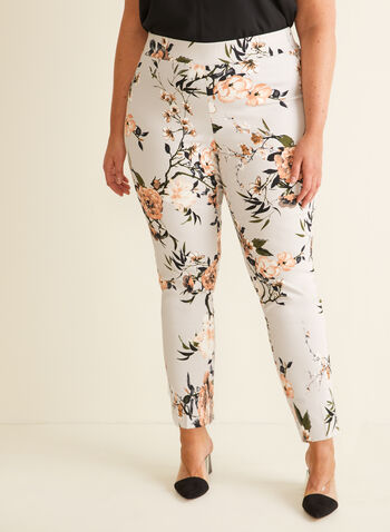 Floral Print City Fit Pants, Grey,  pants, city fit, pleats, slim leg, pull-on, floral, stretchy, spring summer 2020