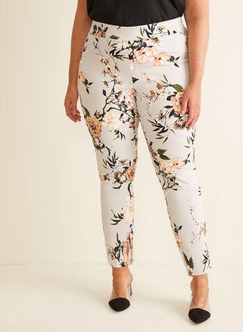 Pantalon coupe cité à fleurs, Gris,  printemps été 2020, pantalon, coupe cité, pull-on, taille élastique, motif, fleuri, floral, fleurs, jambe étroite, bengaline, fait au Canada