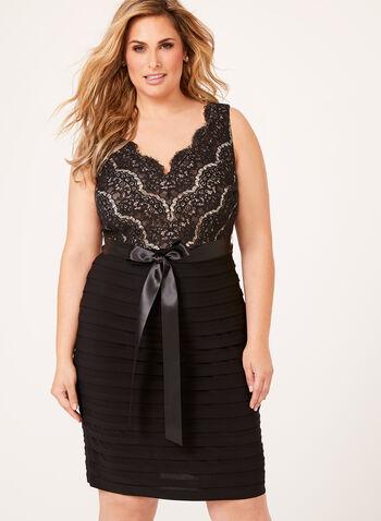 Sequin Lace Shutter Dress, Black, hi-res
