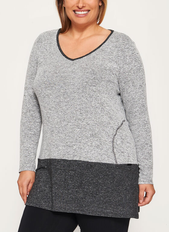 Heather Print Long Sleeve Tunic, Grey, hi-res