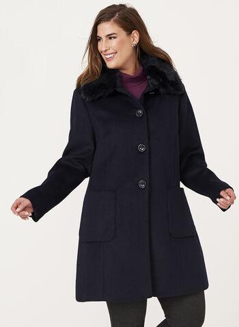 Macrona - Faux Fur Trim Wool Blend Coat, , hi-res