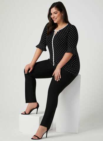 Polka Dot Print Top, Black, hi-res