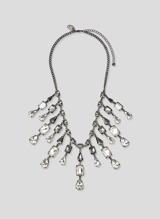 Crystal Collar Necklace, Grey, hi-res