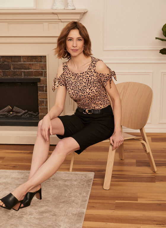 Leopard Print Cold Shoulder Top, Brown