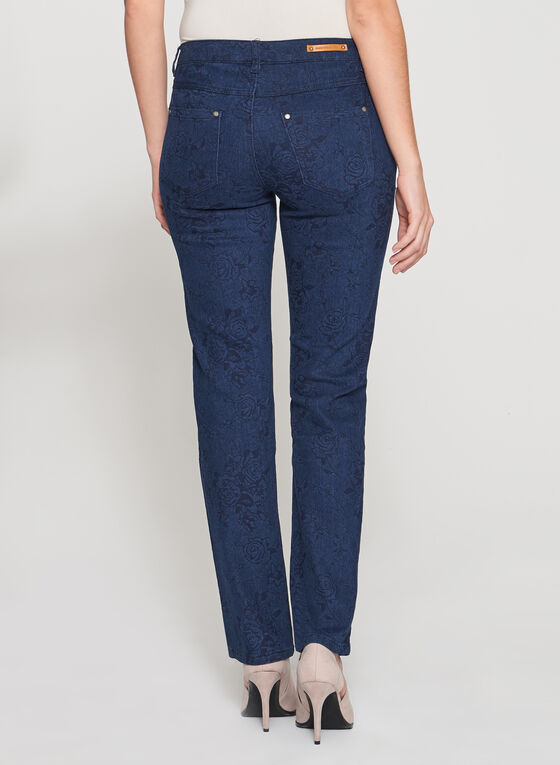 Simon Chang - Printed Signature Fit Straight Leg Jeans, Blue, hi-res