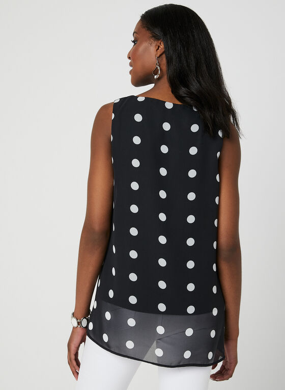 Polka Dot Print Sleeveless Blouse, Black