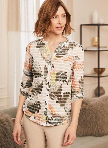 T-shirt boutonné motif tropical et rayures, Vert,  t-shirt, haut, rayé, tropical, boutons, manches 3/4, coton, printemps été 2021