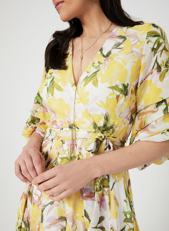 Floral Print ¾ Sleeve Dress, Yellow