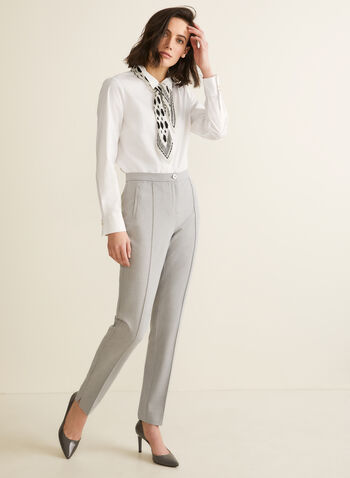 Signature Fit Straight Leg Pants, Grey,  pants, signature, straight leg, pleats, stretchy, spring summer 2020