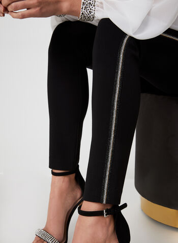 City Fit Embellished Slim Leg Pants, Black,  city fit, slim leg, straight hips, mid rise, slim thighs, pants, leggings, pull on, elastic, embellished, fall 2019, winter 2019