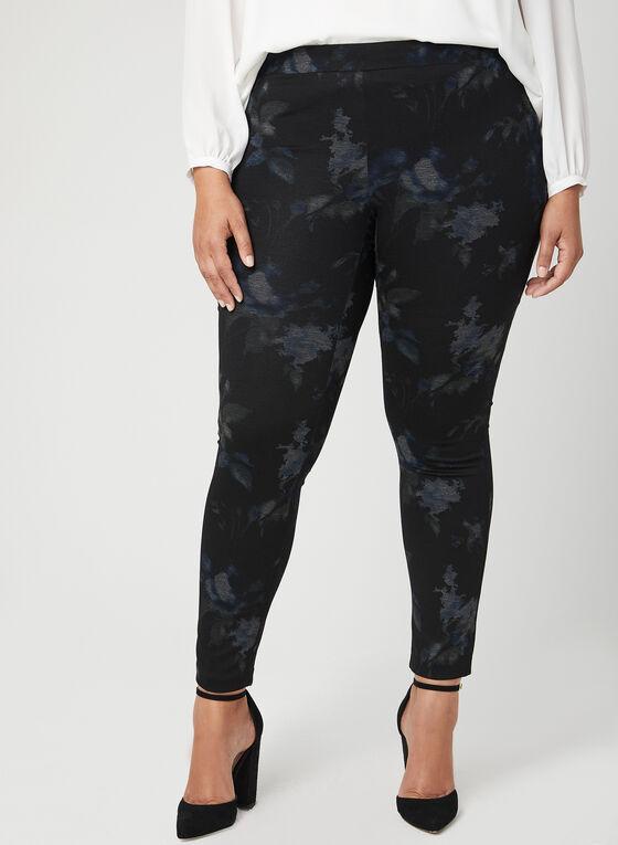 Pantalon pull-on floral à jambe étroite, Noir, hi-res