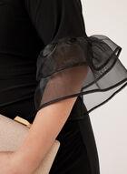 Marina - Robe à manches cloche avec empiècement maille, Noir, hi-res