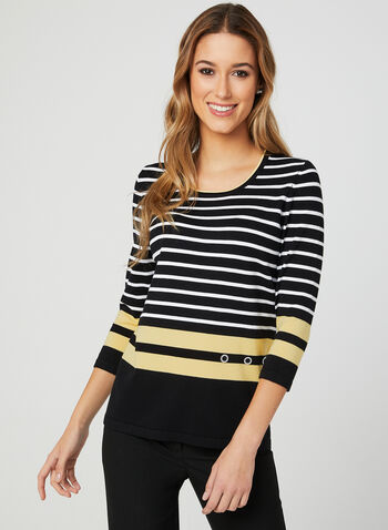 Stripe Print Knit Sweater, Black, hi-res