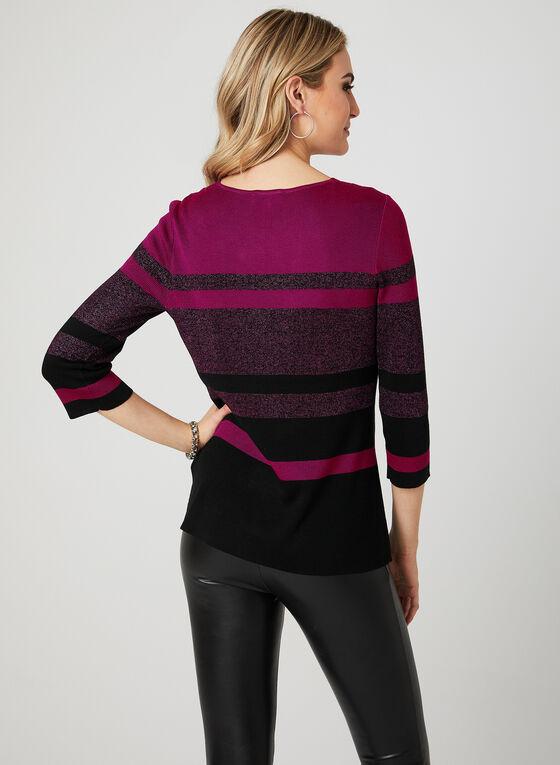 ¾ Sleeve Stripe Print Top, Red, hi-res