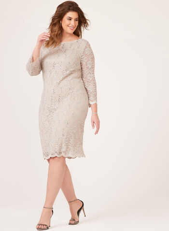 ¾ Sleeve Sequined Lace Dress, Off White, hi-res