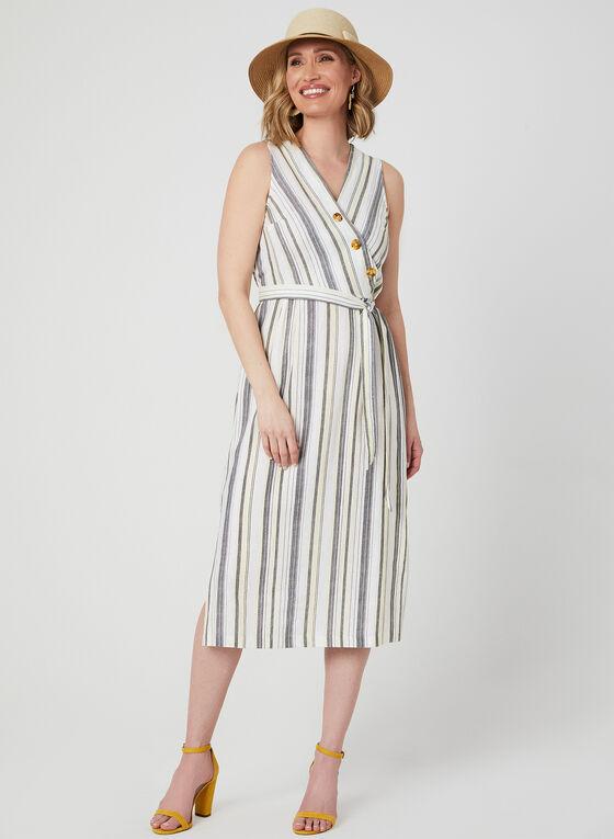 Emma & Michele - Stripe Print Linen Dress, Brown, hi-res
