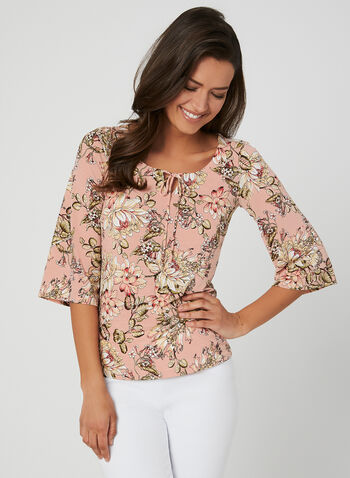 Floral Print Tie Detail Top, Multi, hi-res