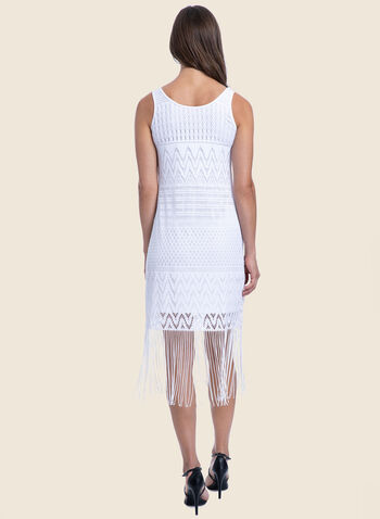 Profile by Gottex - Crochet & Fringe Swimsuit Cover-Up, White,  swimwear, cover-up, crochet, lace, fringe, lined, sleeveless, spring summer 2020