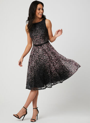 Abstract Print Fit & Flare Dress, Black, hi-res,  belt, lace, sleeveless, spring 2019, dots, floral