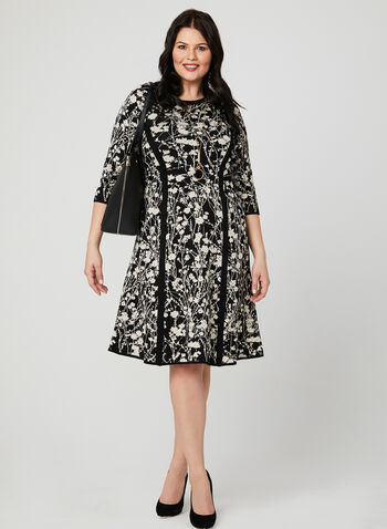 Floral Print Knit Dress, Black, hi-res